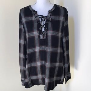 Sanctuary medium black lace up L/S tunic